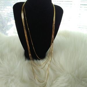 Monet 4 Strand Gold Tone Necklace